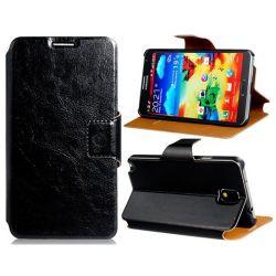 Кожен калъф тип флип  с магнитно закопчаване и слотове за карти за Samsung Galaxy Note 3 (Black)